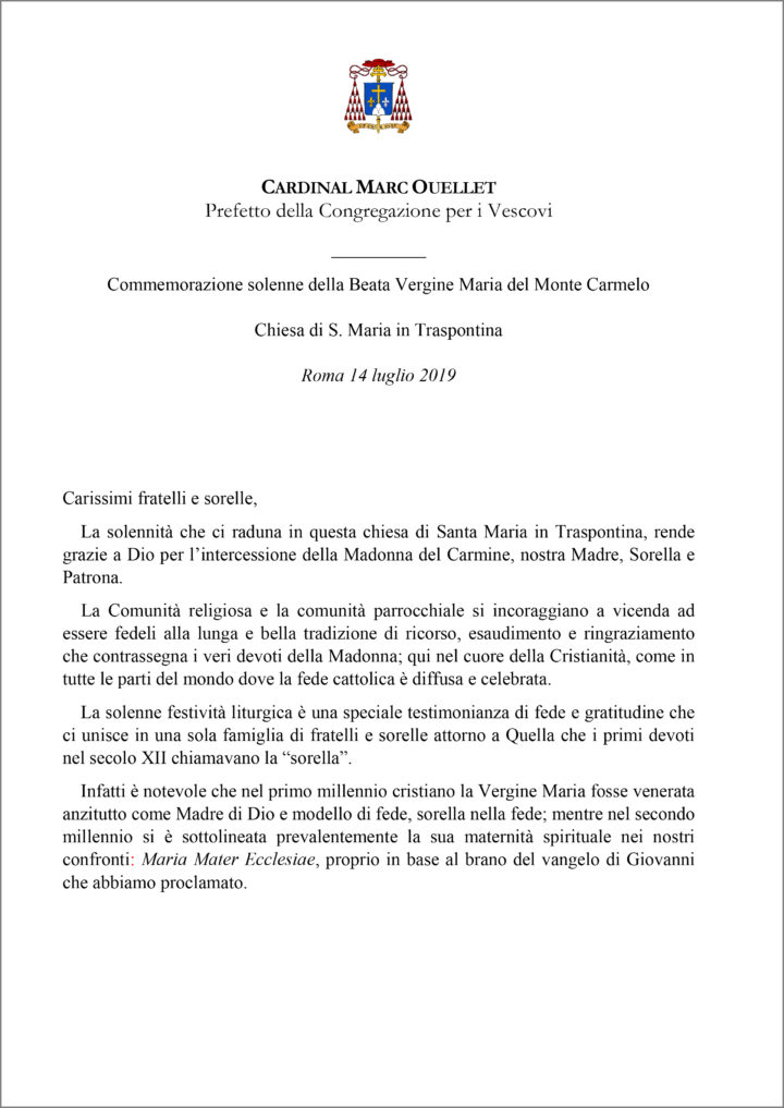 Omelia del Cardinal Marc Ouellet  del 14-7-2019