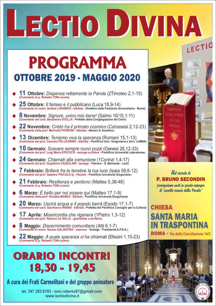 PROGRAMMA OTTOBRE 2019 – MAGGIO 2020