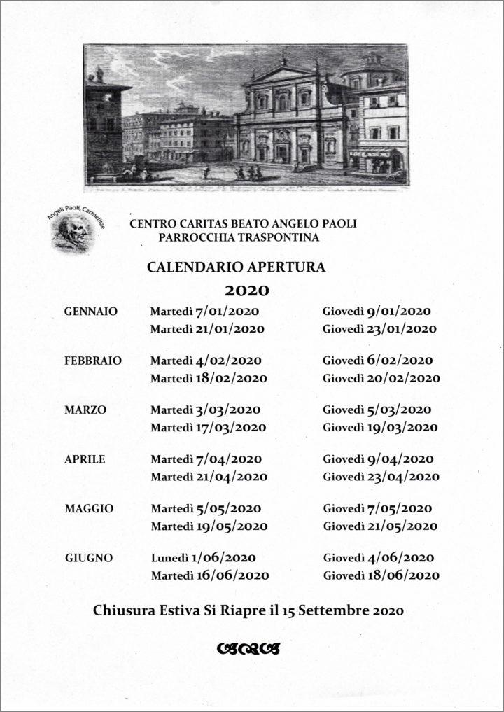 CALENDARIO APERTURA CARITAS 2020